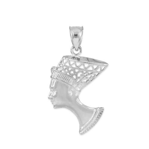 White gold queen nefertiti filigree pendant necklace egyptian pendants white gold queen nefertiti filigree pendant necklace aloadofball Choice Image