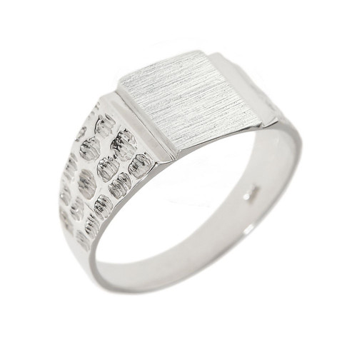 White Gold Engravable Men's Signet Ring