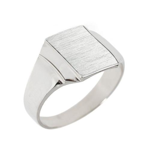 Engravable Solid White Gold Men's Signet Ring