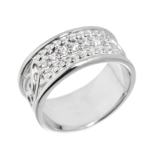 White Gold Celtic Knot Diamond Wedding Band