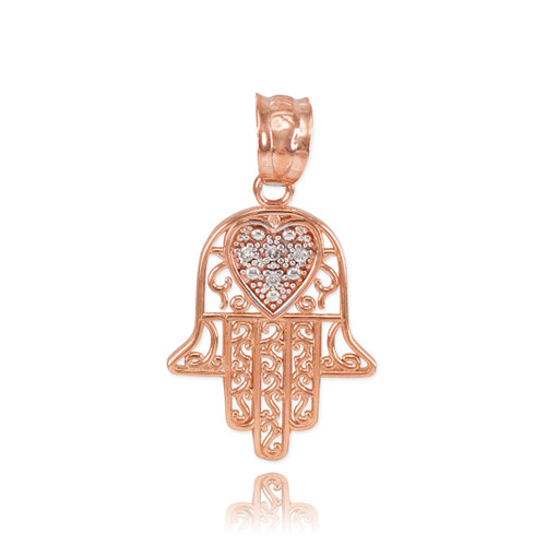 two pendant tone necklace hamsa gold