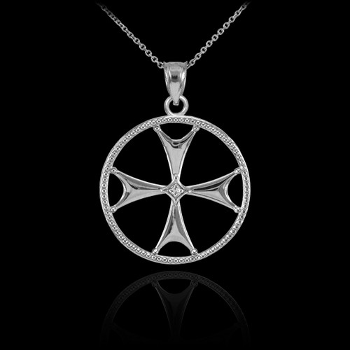 White gold diamond maltese cross pendant necklace aloadofball Image collections