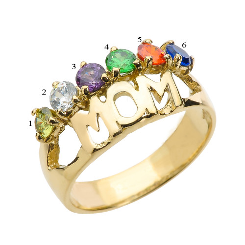 """Yellow Gold """"MOM"""" Ring with Six CZ Birthstones"""