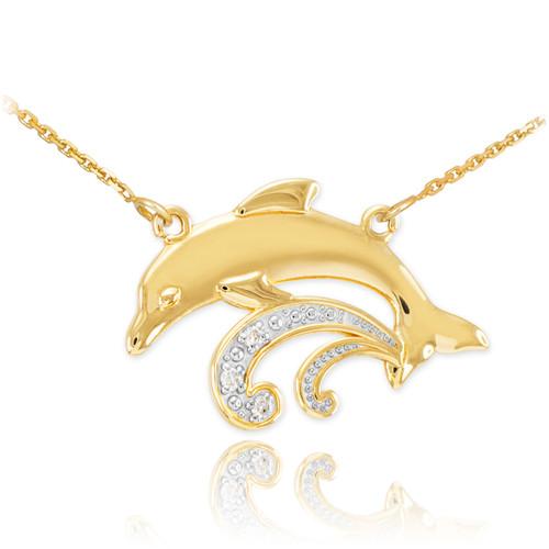 14k Gold Diamond Dolphin Necklace