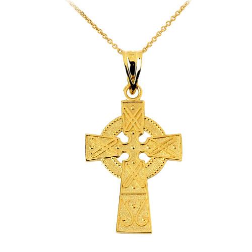 Gold Celtic Charm Gaelic Cross Pendant Necklace