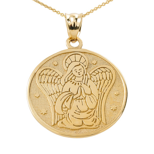 Two sided yellow gold guardian angel charm pendant necklace aloadofball Choice Image