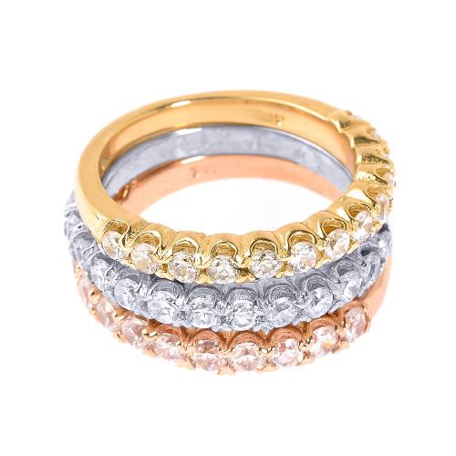 14k Tri Color Gold Diamond Stackable 3 Piece Wedding Ring Set