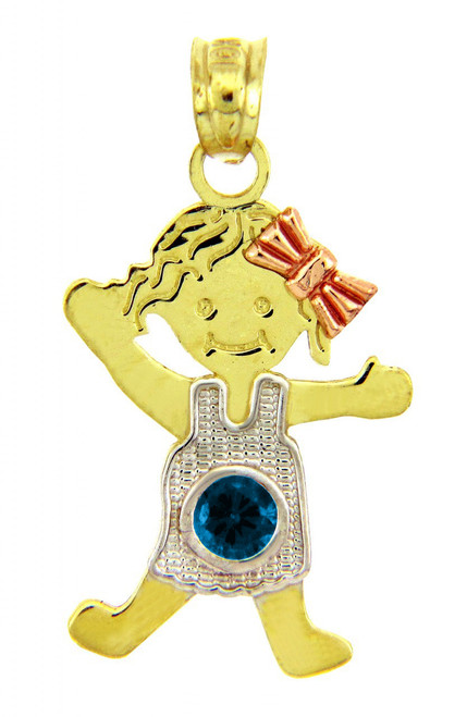 Tri-Color Gold Girl With Bow Blue December Birthstone CZ Charm Pendant