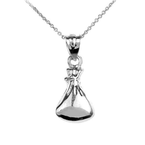 White Gold Baby Sleep Sack Charm Pendant Necklace