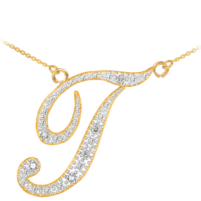 """14k Gold Letter Script """"T"""" Diamond Initial Necklace"""