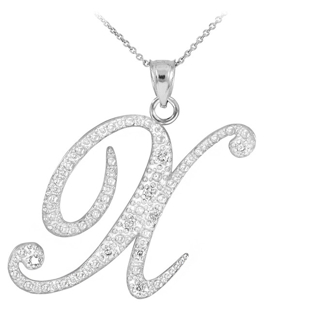 "14k White Gold Letter Script ""X"" Diamond Initial Pendant Necklace"