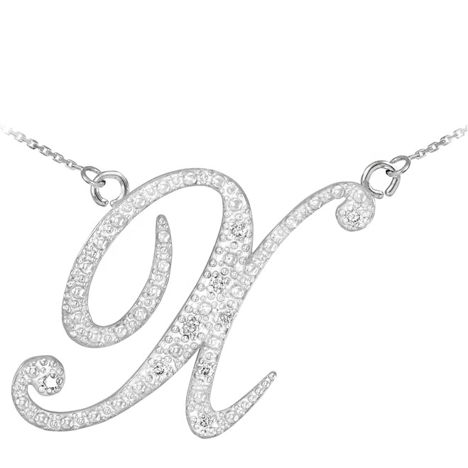 "14k White Gold Letter Script ""X"" Diamond Initial Necklace"