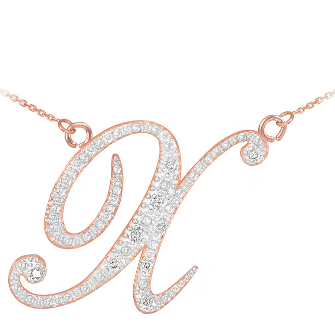"14k Rose Gold Letter Script ""X"" Diamond Initial Necklace"