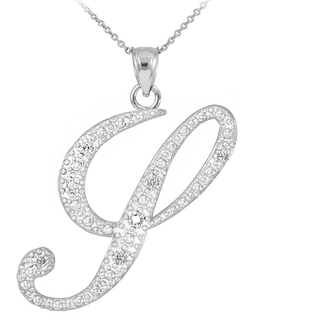 """Sterling Silver Letter Script """"Y"""" CZ Initial Necklace"""
