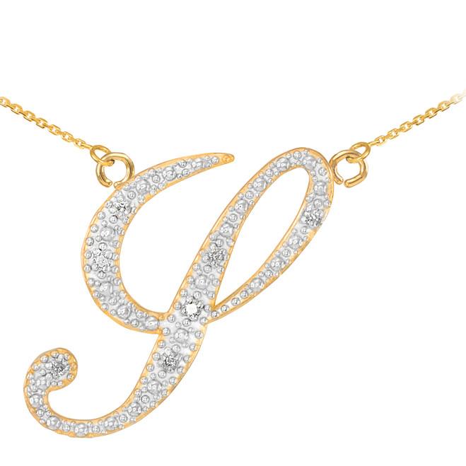 """14k Gold Letter Script """"Y"""" Diamond Initial Necklace"""