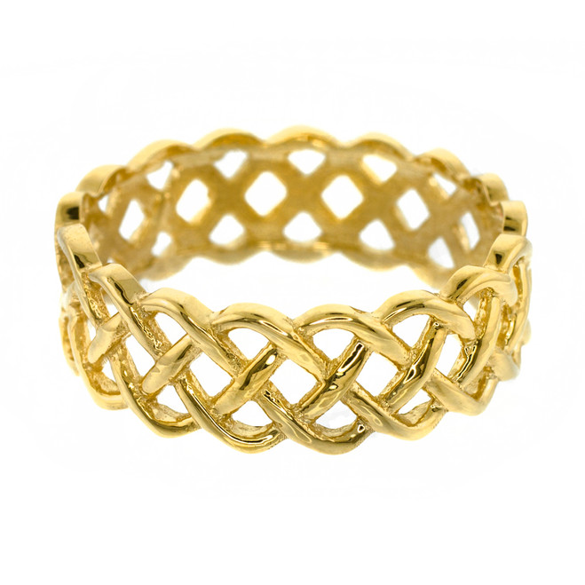 14k Gold Celtic Weave Wedding Band