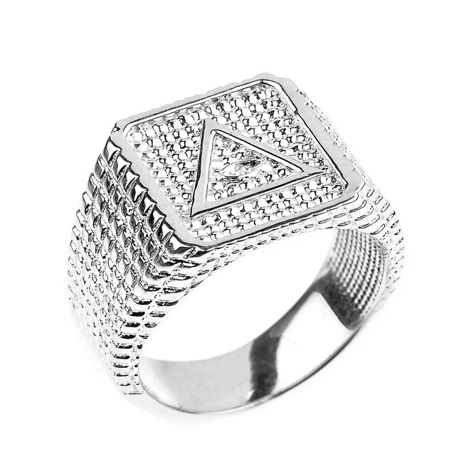 Bold Sterling Silver Eye of Horus Men's Ring