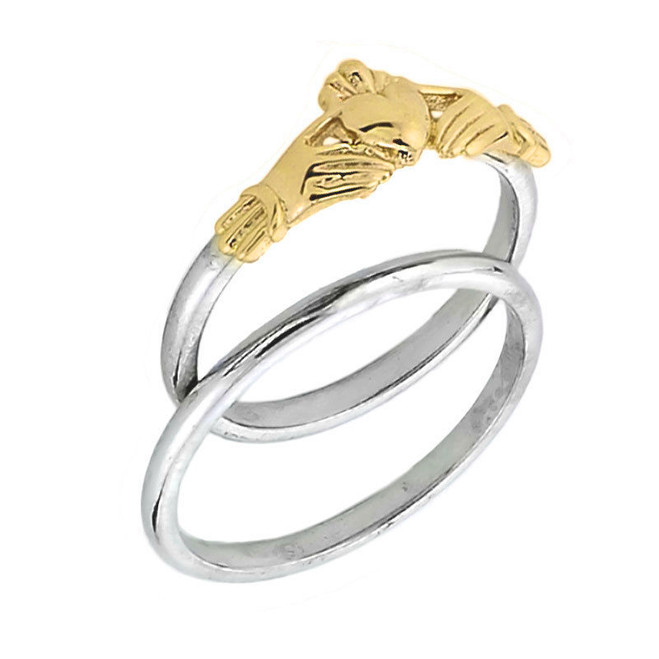 Two Tone Yellow Gold Claddagh Engagement Ring Set