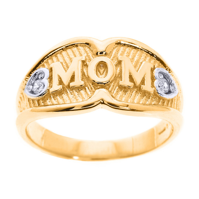 "Yellow Gold ""MOM"" CZ Ring"