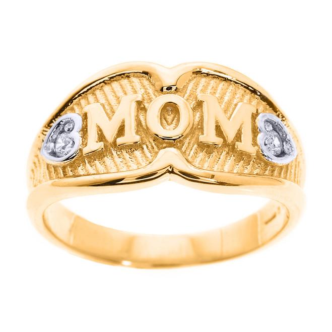 "Yellow Gold ""MOM"" CZ Ring"