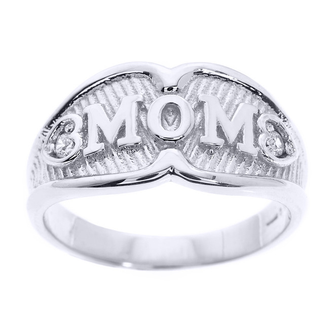"White Gold ""MOM"" CZ Ring"