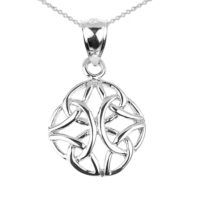 White Gold Celtic Trinity Knot Charm Pendant Necklace