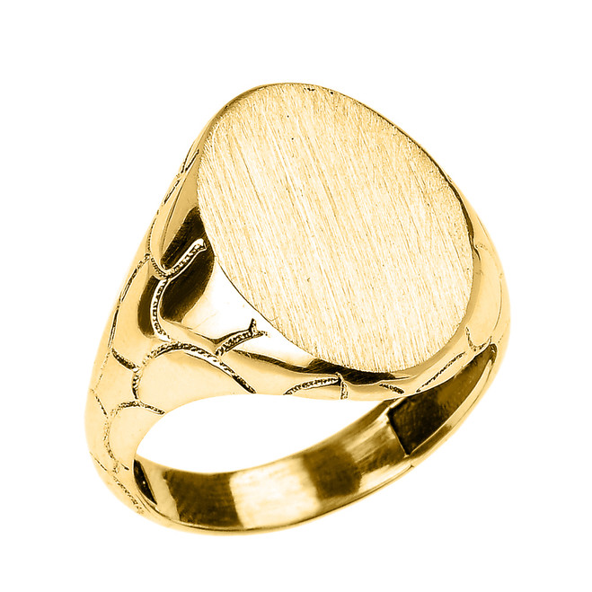 Yellow Gold Nugget Band Oval Engravable Signet Ring