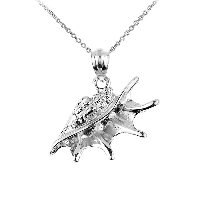 Sterling Silver Sea shell Charm Pendant Necklace