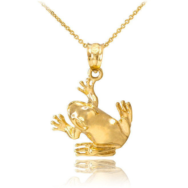 Yellow Gold Frog Pendant Necklace