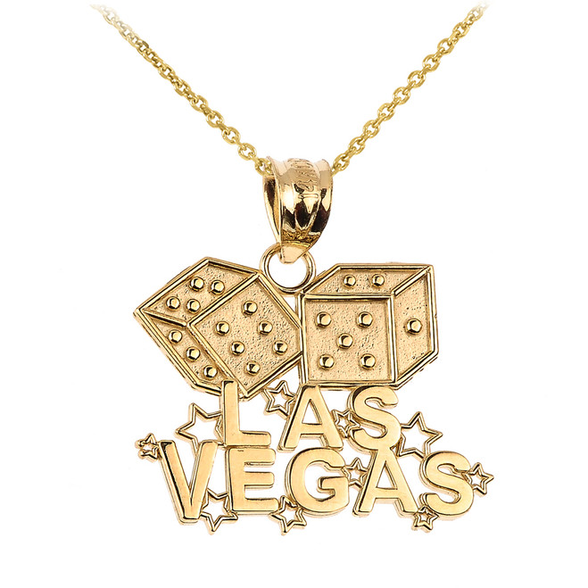 Gold LAS VEGAS Dice Pendant Necklace