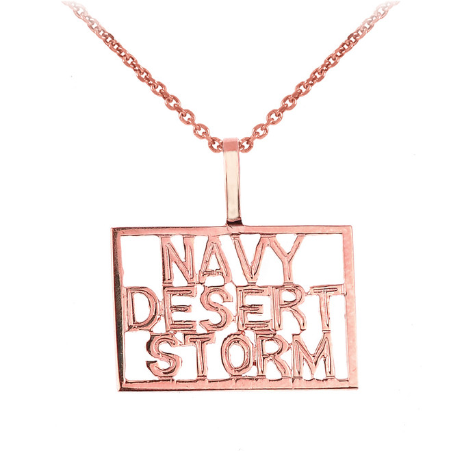Rose Gold NAVY DESERT STORM Pendant Necklace