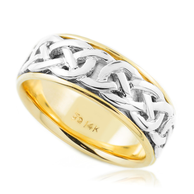 Two-Tone Gold Celtic Knot Wedding Band 18k