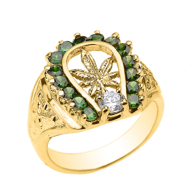 Yellow Gold Horseshoe with Marijuana Leaf Cannabis Men's Ring