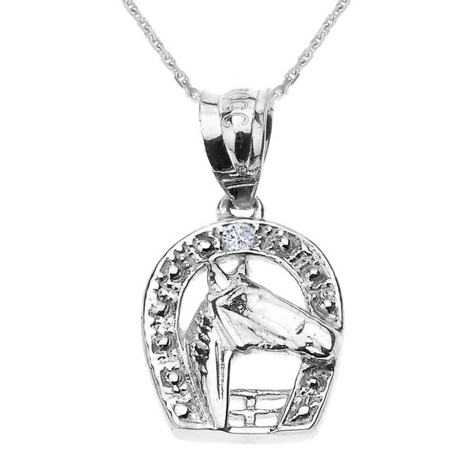 White Gold Diamond Horseshoe with Horse Head Pendant Necklace