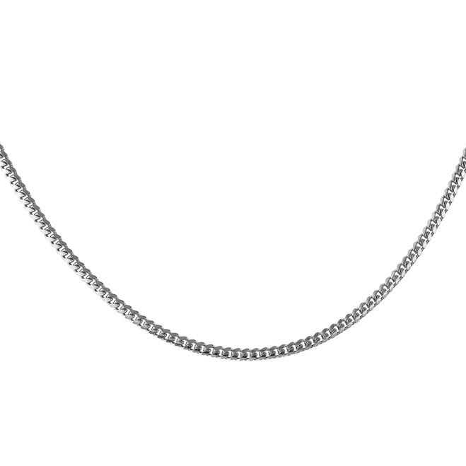 Sterling Silver Italian Flat Curb Cuban Link Chain 2.5 mm