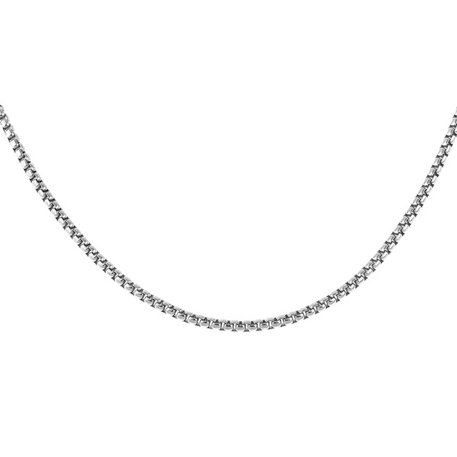 Sterling Silver 30 Inch Italian Round Box Link Chain 2.4 mm