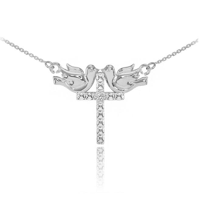 14K White Gold Pigeon Cross Diamond Necklace