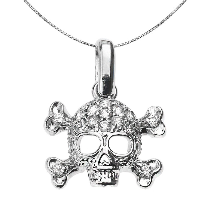 Sterling Silver Skull and Bones Pendant Necklace with White CZ