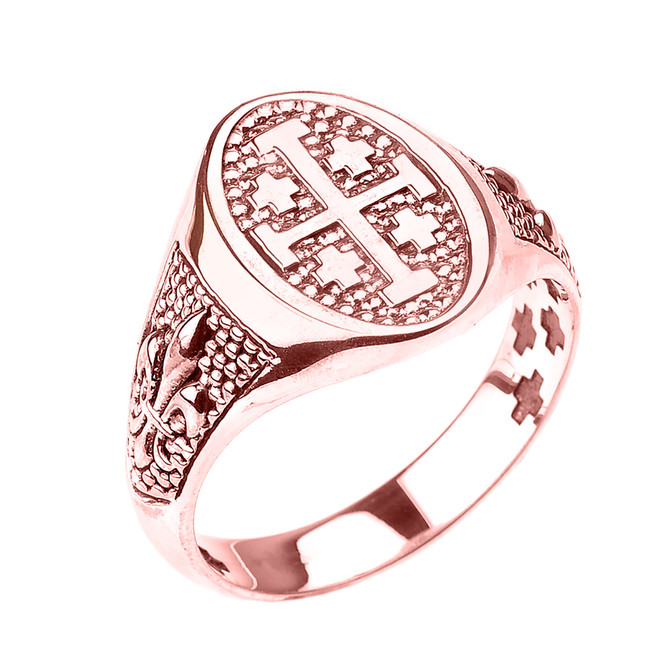 Rose Gold Jerusalem Cross Unisex Ring with Fleur De Lis