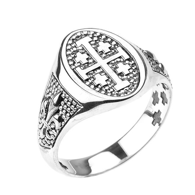 Sterling Silver Jerusalem Cross Unisex Ring with Fleur De Lis