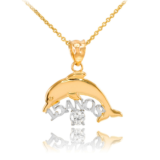 14K Two Tone Gold 15 Años Dolphin CZ Pendant Necklace