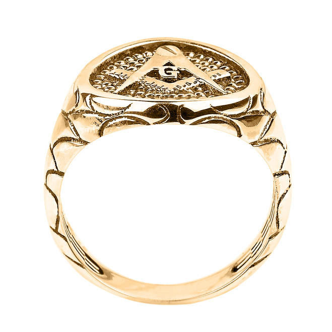 Solid Yellow Gold Nugget Band Masonic Men's Ring