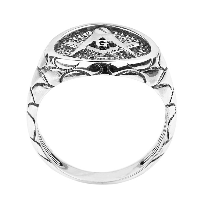 Sterling Silver Nugget Band Masonic Men's Ring