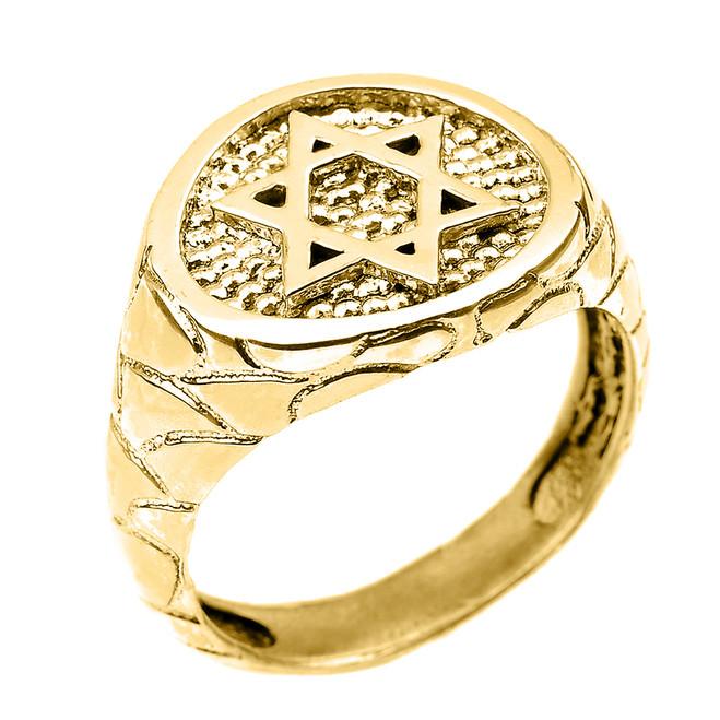 Yellow Gold Star of David Men's Ring