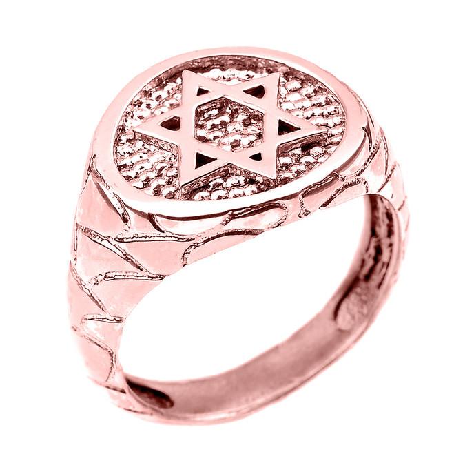Rose Gold Star of David Men's Ring
