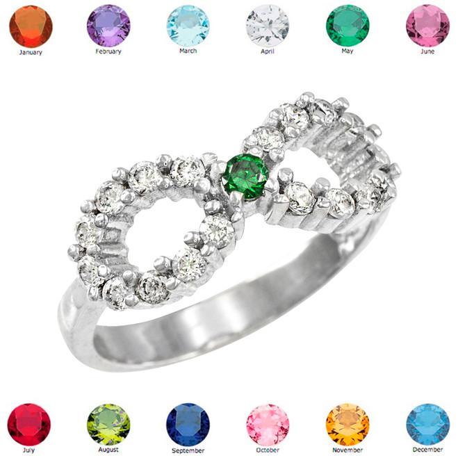 Silver Infinity Birthstone CZ Ring
