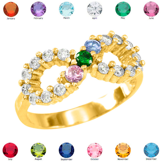 Solid Gold Infinity CZ Ring with Interchangable Birthstones