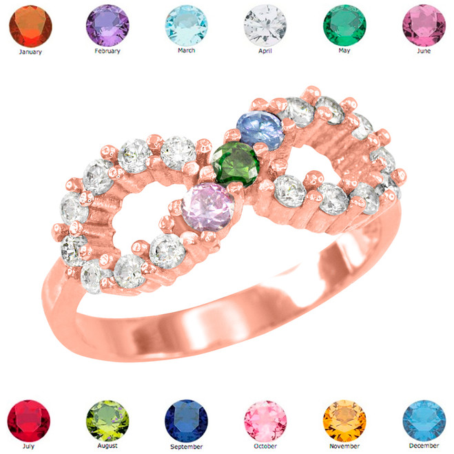 Solid Rose Gold Infinity CZ Ring with Interchangable Birthstones