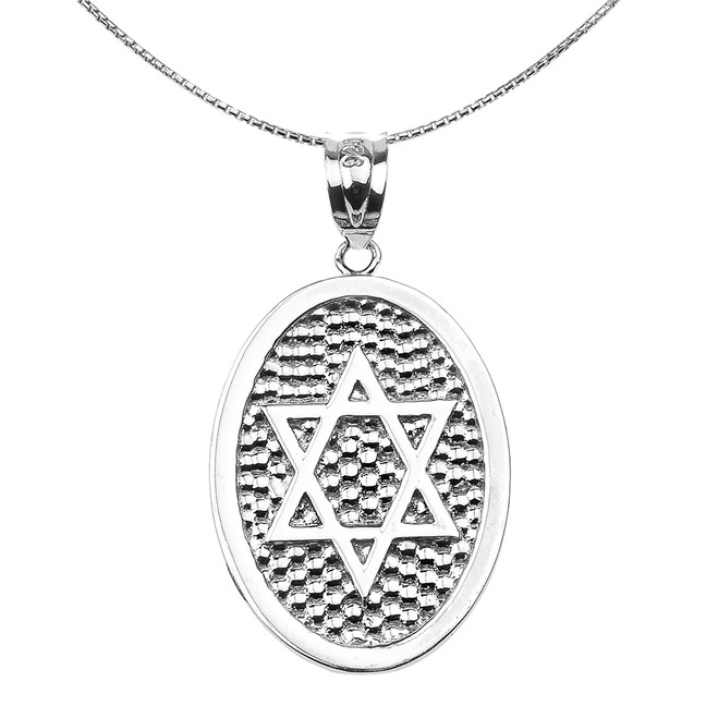 Sterling Silver Star of David Engravable Oval Pendant Necklace