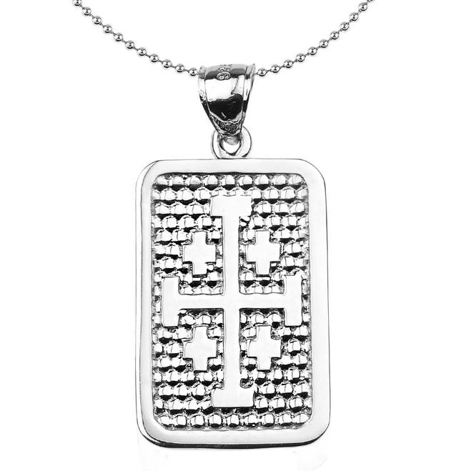 Sterling Silver Jerusalem Cross Engravable Pendant Necklace